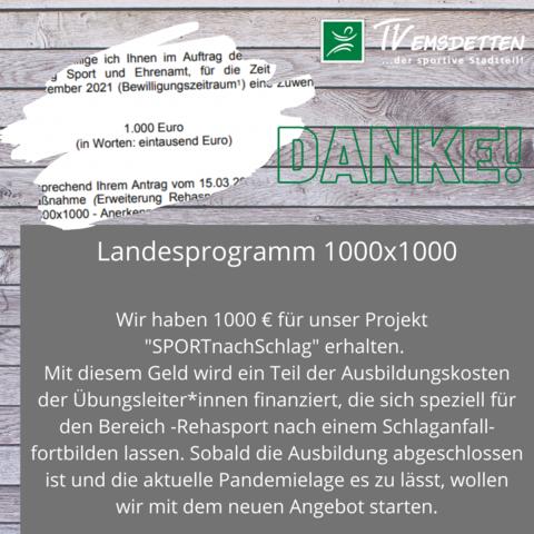 """Bewilligung 1000 x 1000 - Projekt """"Sport nach Schlag"""""""