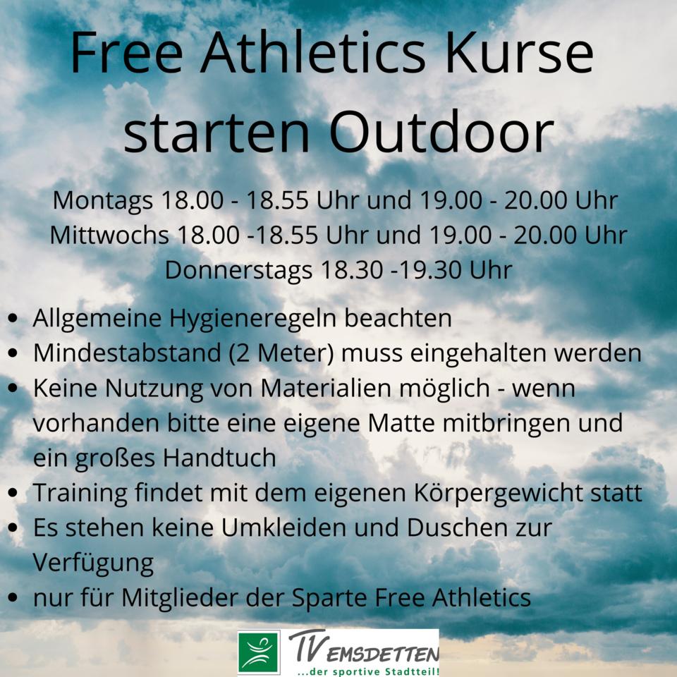 Free Athletics Kurse starten wieder - Outdoor