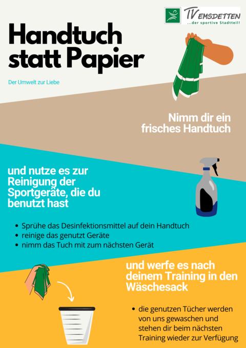 Handtuch statt Papier auf den Trainingsflächen