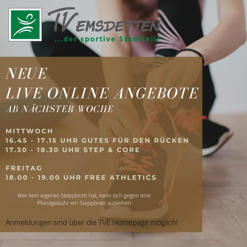 Ab nächster Woche neue Live Online Angebote