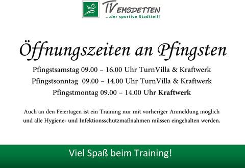 Öffnungszeiten der Trainingsflächen an Pfingsten