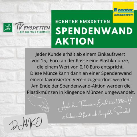 Spendenwand Aktion Ecenter Emsdetten - wir brauchen Deine Unterstützung